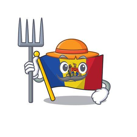 Flag moldova cartoon with in farmer character. Vector illustration