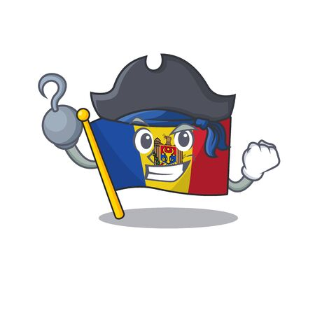 Flag moldova cartoon with in pirate character. Vector illustration