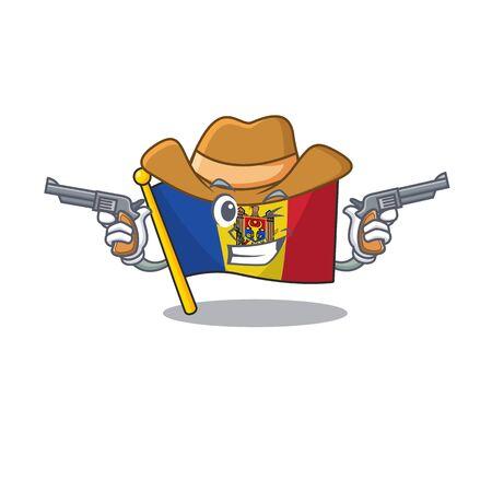 Flag moldova cartoon with in cowboy character. Vector illustration