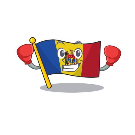 Flag moldova cartoon with in boxing character. Vector illustration