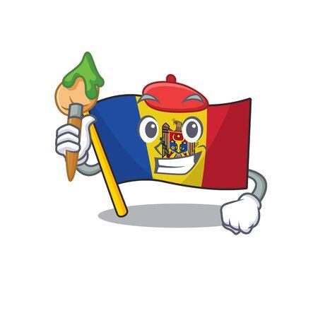 Flag moldova cartoon with in painter character. Vector illustration