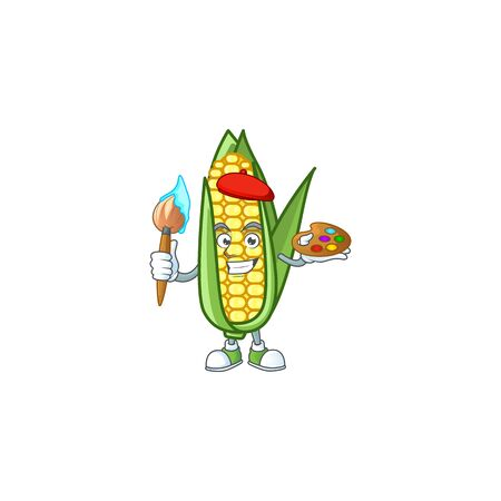 Cartoon corn sweet with the character painter