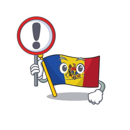 Flag moldova cartoon with in with sign warning character. Vector illustration