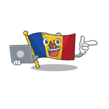 Flag moldova cartoon with in with bring laptop character. Vector illustration