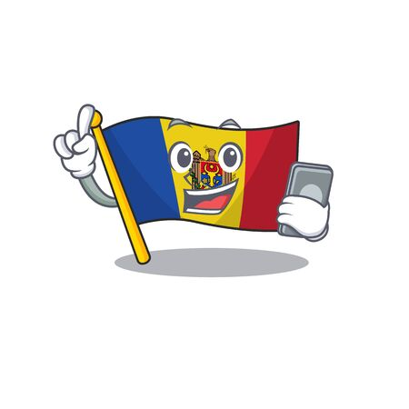 Flag moldova cartoon with in with holding phone character. Vector illustration