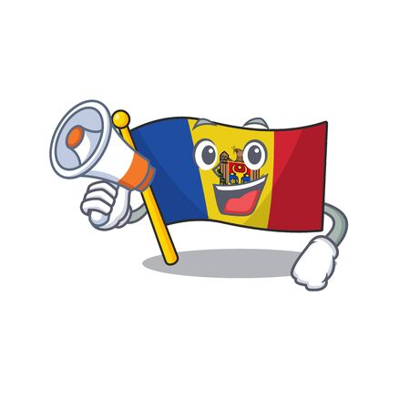 Flag moldova cartoon with in with holding megaphone character. Vector illustration