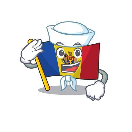 Flag moldova cartoon with in sailor character. Vector illustration