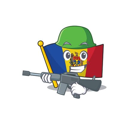 Flag moldova cartoon with in army character. Vector illustration