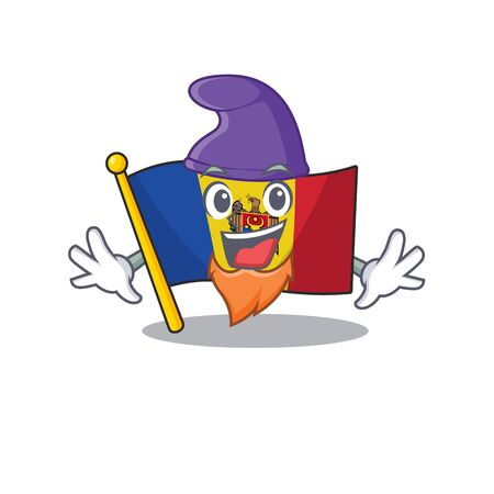 Flag moldova cartoon with in elf character. Vector illustration Ilustração