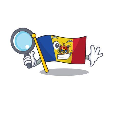 Cartoon flag madelova isolated in character detective . Vector illustration Standard-Bild - 133694361