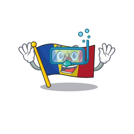 Cartoon flag madelova isolated in character diving . Vector illustration Stock fotó - 133694368