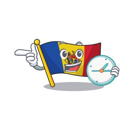 Cartoon flag madelova isolated in character with bring clock . Vector illustration Standard-Bild - 133694370
