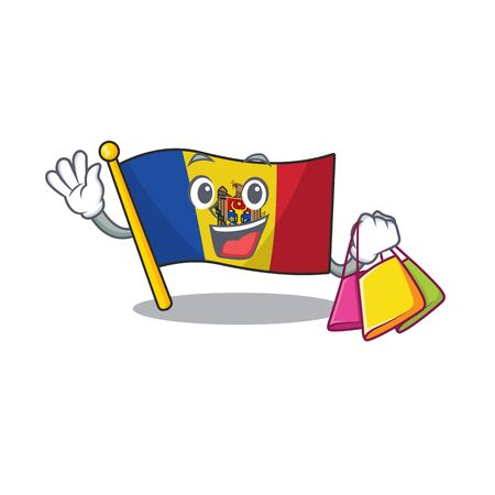 Cartoon flag madelova isolated in character shopping . Vector illustration Standard-Bild - 133694372