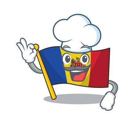 Cartoon flag madelova isolated in character chef . Vector illustration Ilustrace