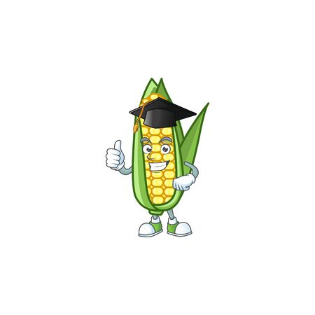 Cartoon corn raw with the character graduation hat