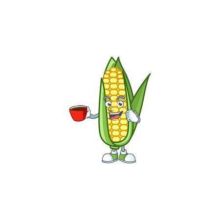 Cartoon corn raw with the character drinking in cup Stock fotó - 133694381