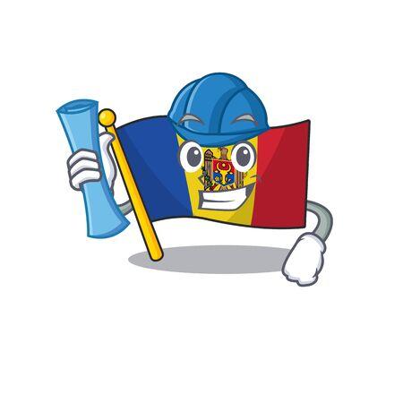 Cartoon flag madelova isolated in character architect . Vector illustration Standard-Bild - 133694384