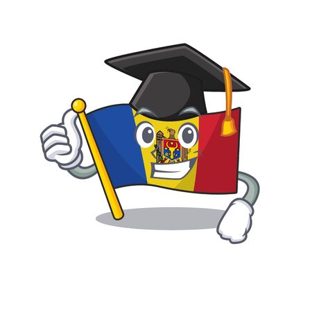 Cartoon flag madelova isolated in character graduation hat . Vector illustration Standard-Bild - 133694388