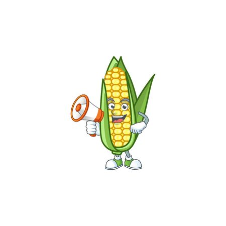 Cartoon corn sweet with the character with holding megaphone