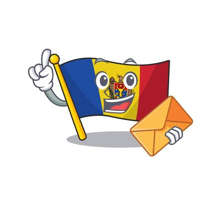 Cartoon flag madelova isolated in character bring envelope . Vector illustration Standard-Bild - 133694395