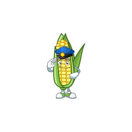 Cartoon corn sweet with the character police Ilustracja