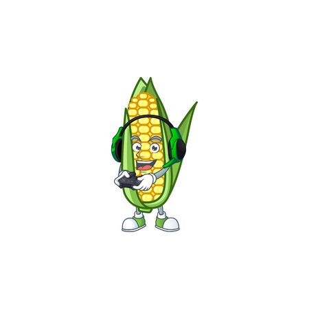 Cartoon corn sweet with the character bring gaming