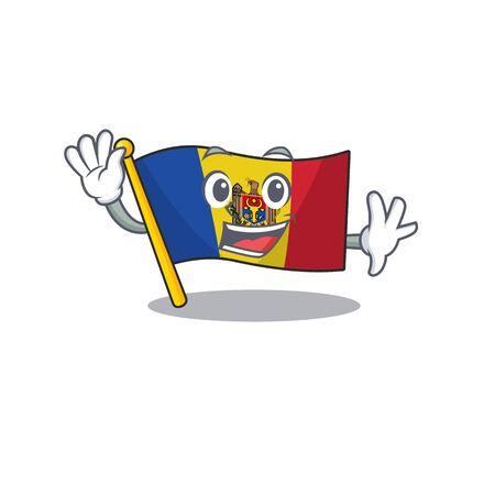 Cartoon flag madelova isolated in character waving . Vector illustration Standard-Bild - 133694448