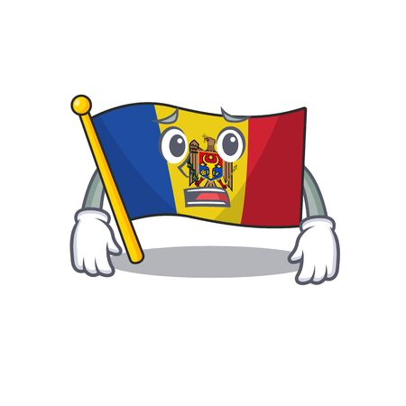 Mascot cartoon flag moldova in with afraid character. Vector illustrtaion