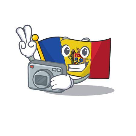 Mascot cartoon flag moldova in with photographer character. Vector illustrtaion