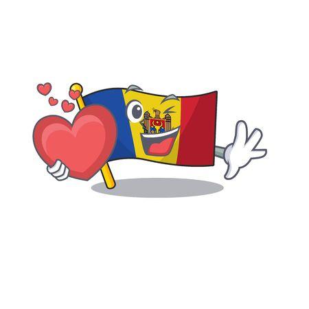 Mascot cartoon flag moldova in with holding heart character. Vector illustrtaion
