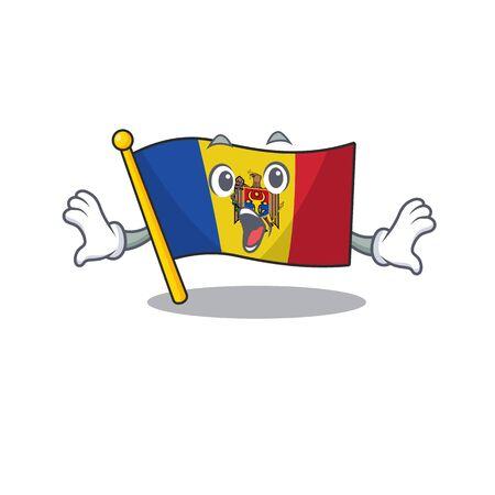 Mascot cartoon flag moldova in with surprised character. Vector illustrtaion