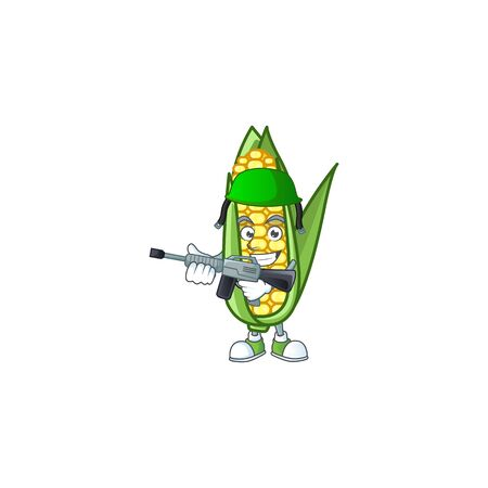 Cartoon corn sweet with the character army