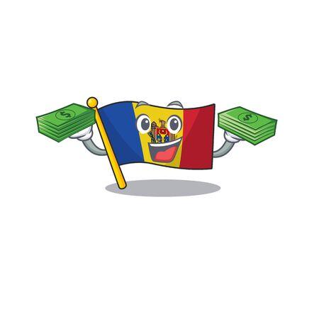 Mascot cartoon flag moldova in with holding money character. Vector illustrtaion Ilustracja
