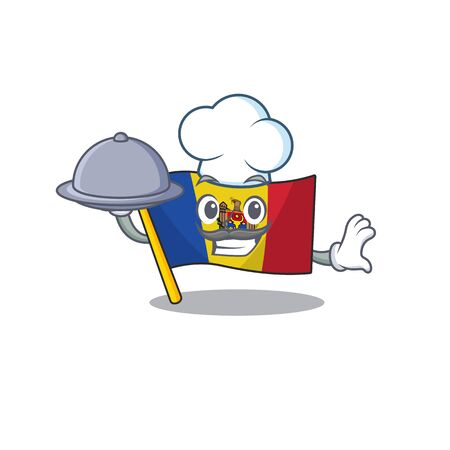Mascot cartoon flag moldova in with chef holding food character. Vector illustrtaion
