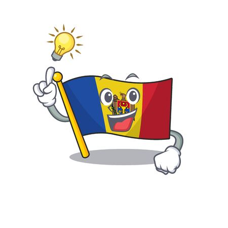 have an idea character on the cartoon flag moldova. Vector illustration
