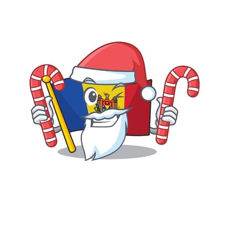 santa bring candy character on the cartoon flag moldova. Vector illustration