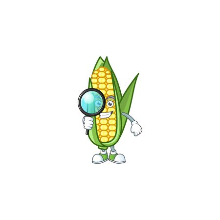 Cartoon corn raw with the character detective Ilustracja