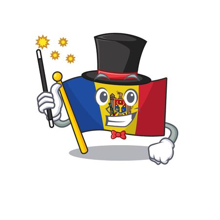 magician character on the cartoon flag moldova. Vector illustration