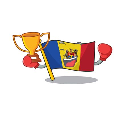 boxing winner character on the cartoon flag moldova. Vector illustration