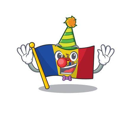 clown character on the cartoon flag moldova. Vector illustration Reklamní fotografie - 133694711