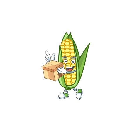 Cartoon corn raw with the character with bring box