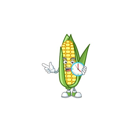 Cartoon corn raw with the character with bring clock