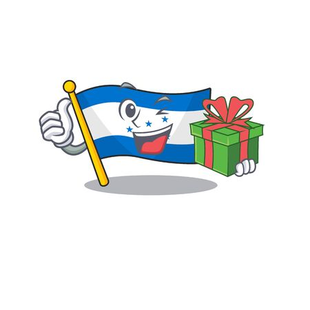 Cartoon flag honduras isolated in character holding gift. Vector illustration Foto de archivo - 133695126