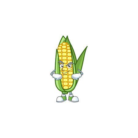 Cartoon corn raw with the character smirking
