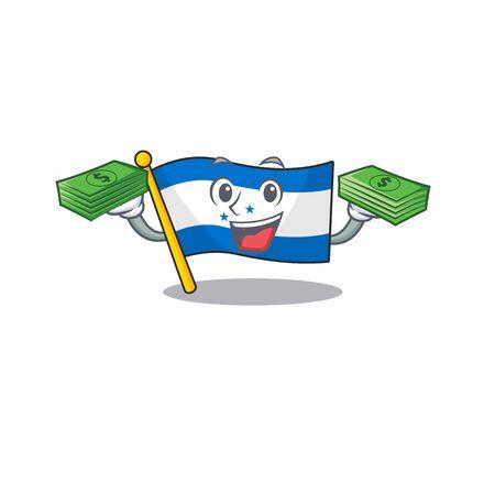 Cartoon flag honduras isolated in character holding money. Vector illustration