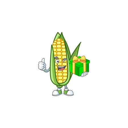 Character holding gift in the cartoon a corn Foto de archivo - 133695256