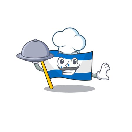 Cartoon flag honduras isolated in character chef holding food. Vector illustration Ilustrace