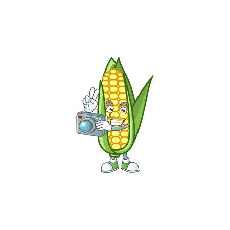 Character photographer in the cartoon a corn Ilustracja