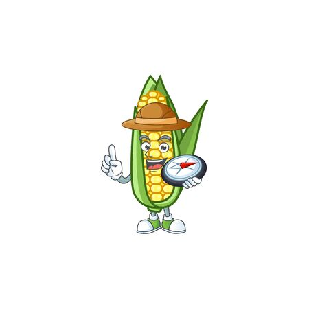 Character holding compass in the cartoon a corn