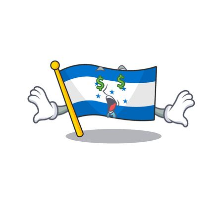 Money eye cartoon flag honduras in with mascot. Vector illustration